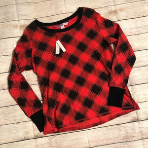 VS Black & Red Buffalo Plaid Thermal Top SZ S NEW!